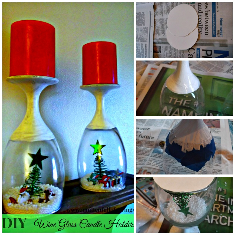diy candle wine holder collage