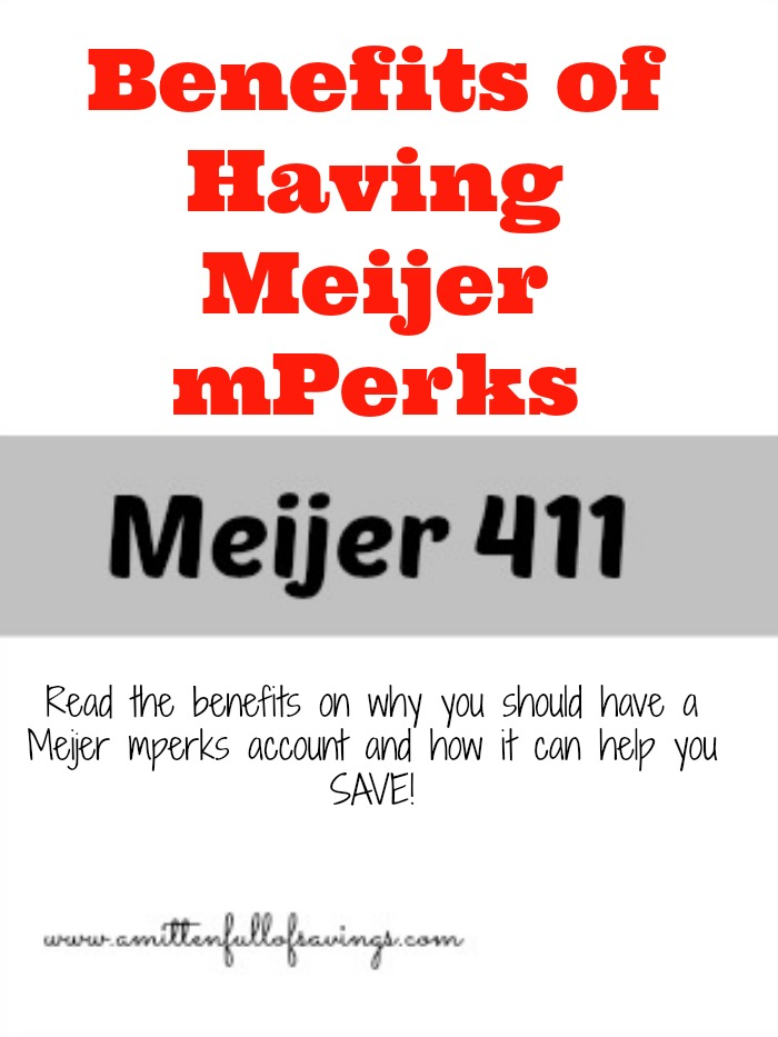 There are several benefits and reasons why you should have a Meijer mperks account. It's free to sign up and helps you save on everything!