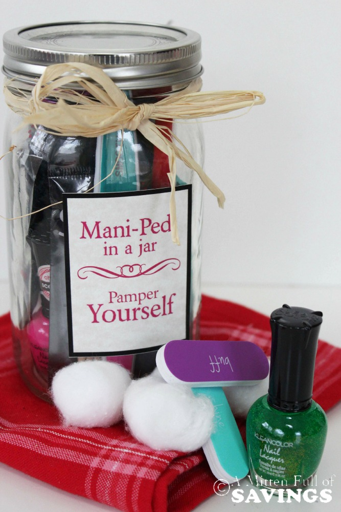 Gifts In A Jar:  This Mani Pedi Gifts In A Jar Idea is the perfect solution to gifting to all of the women in your life.  Budget-friendly and easy to assemble!