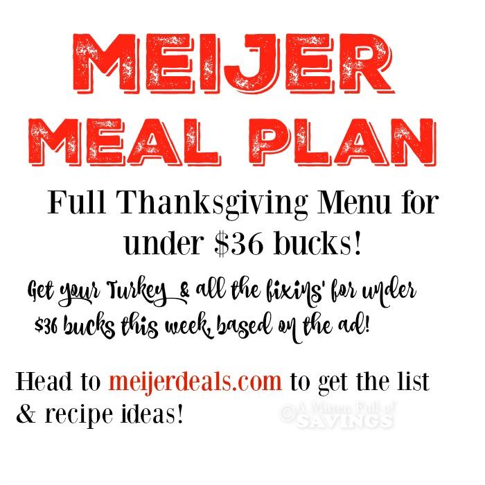Meijer Meal Planning Thanksgiving Dinner