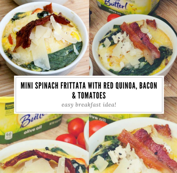 Here's an easy breakfast idea, using bacon, tomatoes, I can't believe it's not butter and eggs! Try our recipe for Mini Spinach Frittata with Red Quinoa, Bacon & Tomatoes