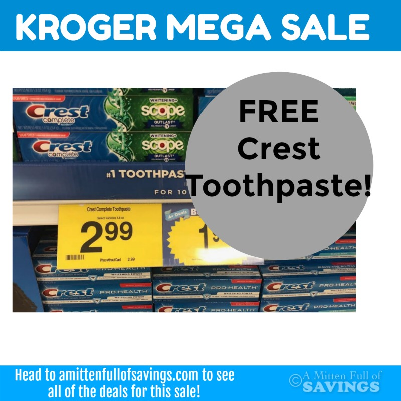 Kroger MEGA: FREE Crest Toothpaste + Cheap Oral B Toothbrushes