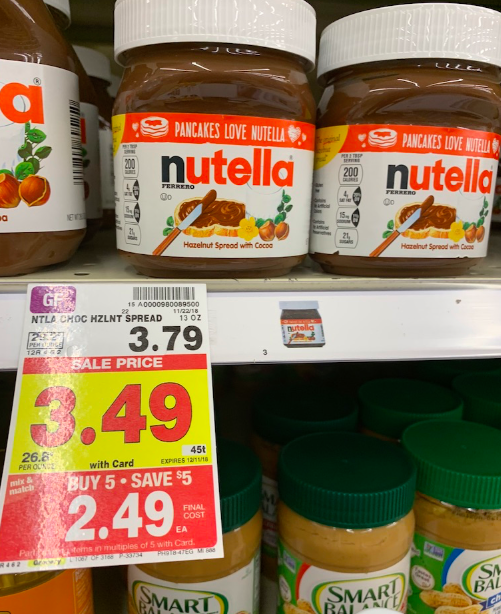 deal on Nutella at Kroger