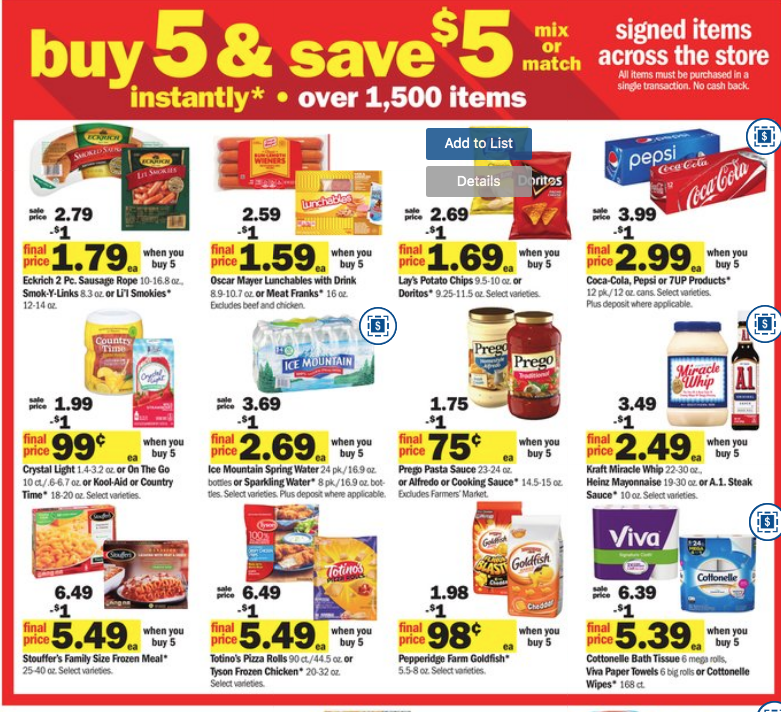 Meijer: Buy 5, Save $5 Instant {Full List}