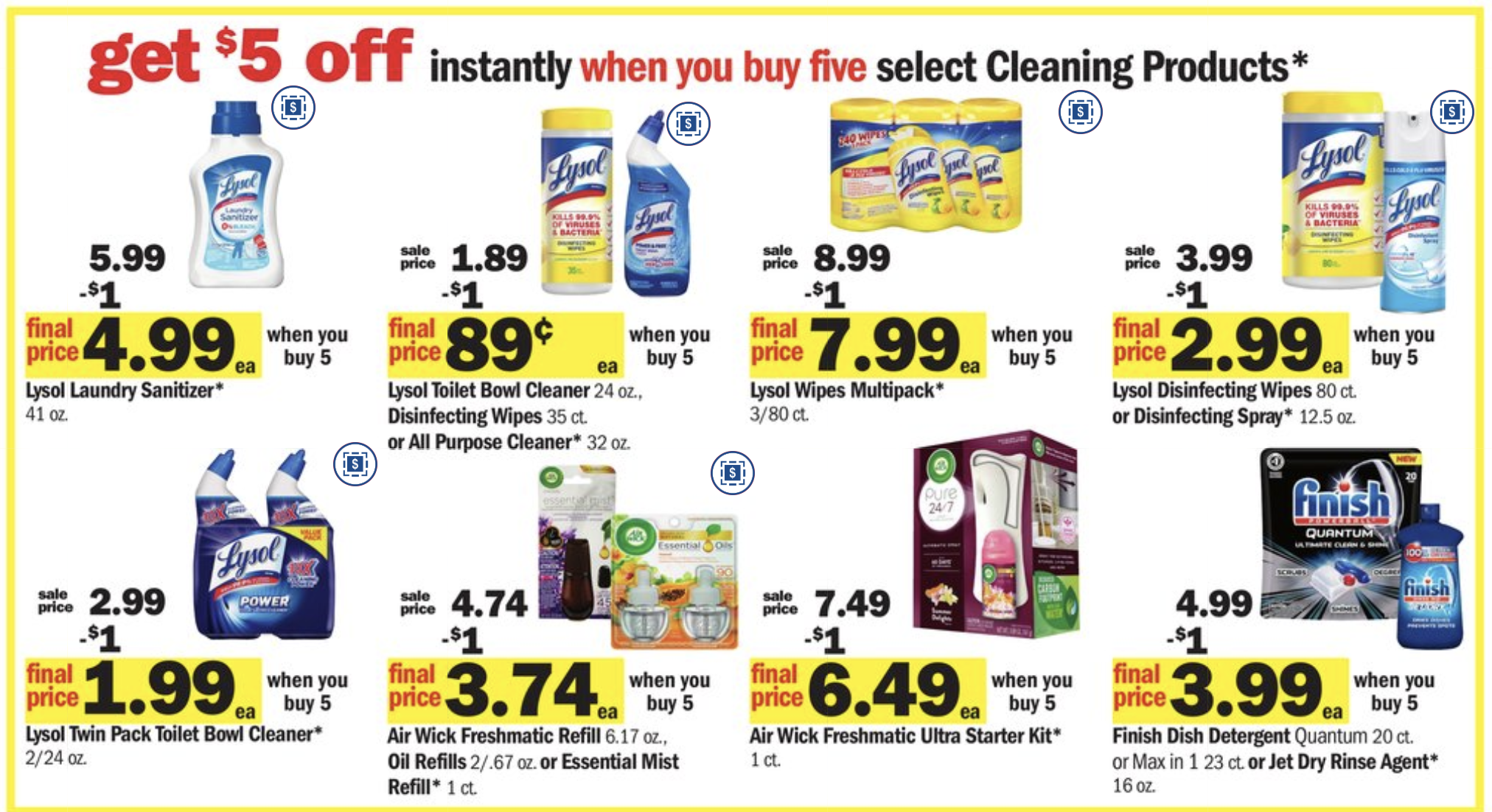 Meijer: Buy 5 Save 5 Lysol/Cleaning Promotion